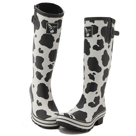 Evercreatures Cow Print Ladies Wellies