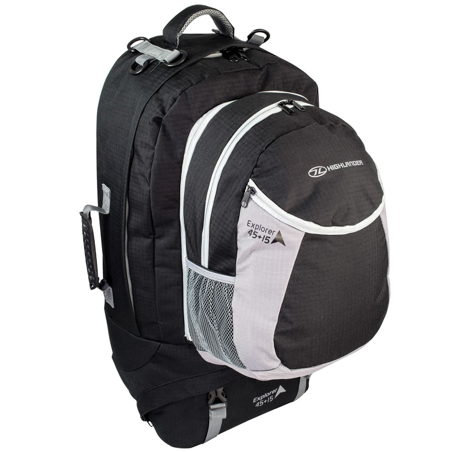 Highlander Explorer 45+15L Black Travel Rucksack