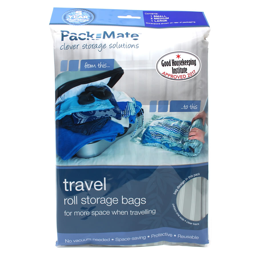 Packmate 4pc Travel Roll Storage Bag Set