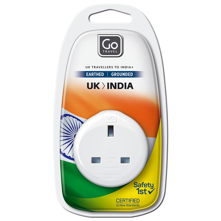 Go Travel UK to India Earthed Adaptor