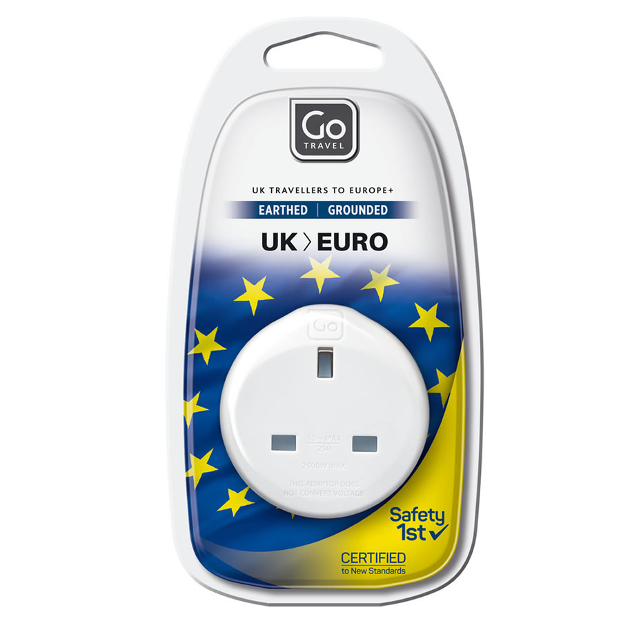 Go Travel UK-Europe Earthed Adaptor
