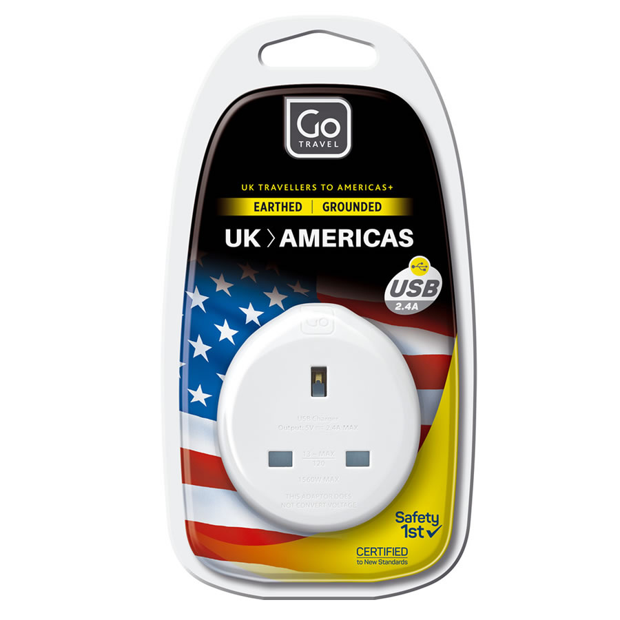 Go Travel UK-USA Plug Adaptor + USB