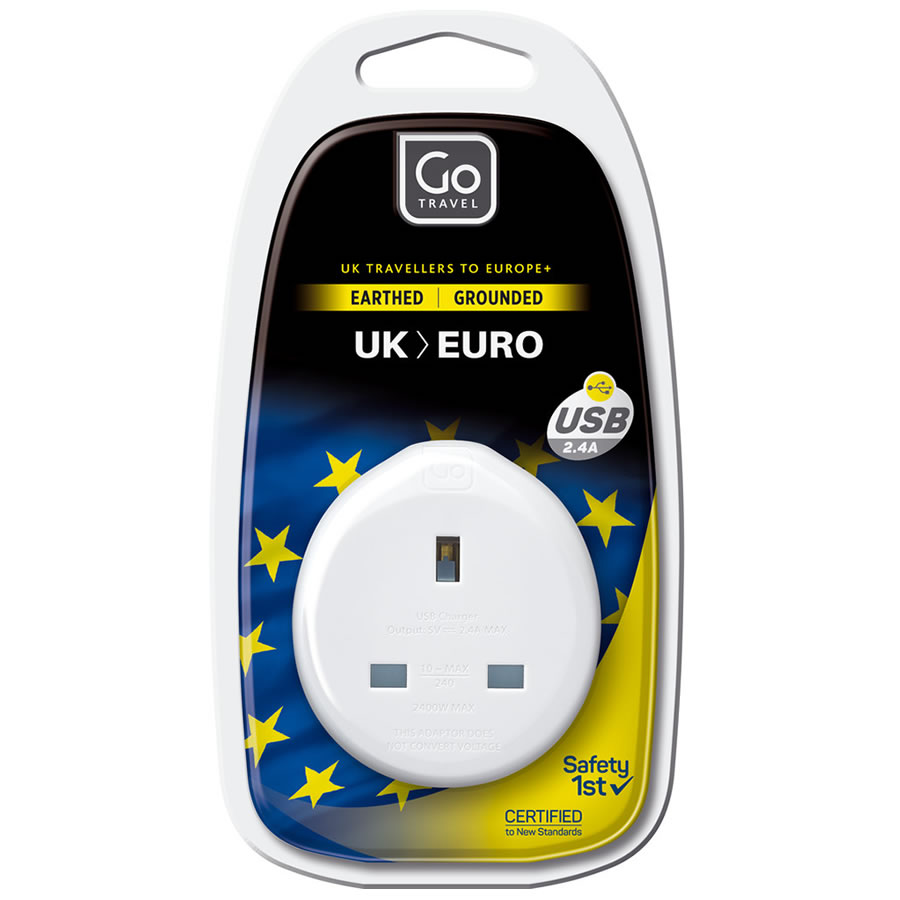Go Travel UK-Europe Plug Adaptor + USB