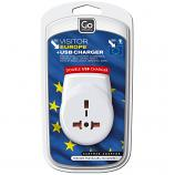 Go Travel Europe Visitor + USB Charger Adaptor